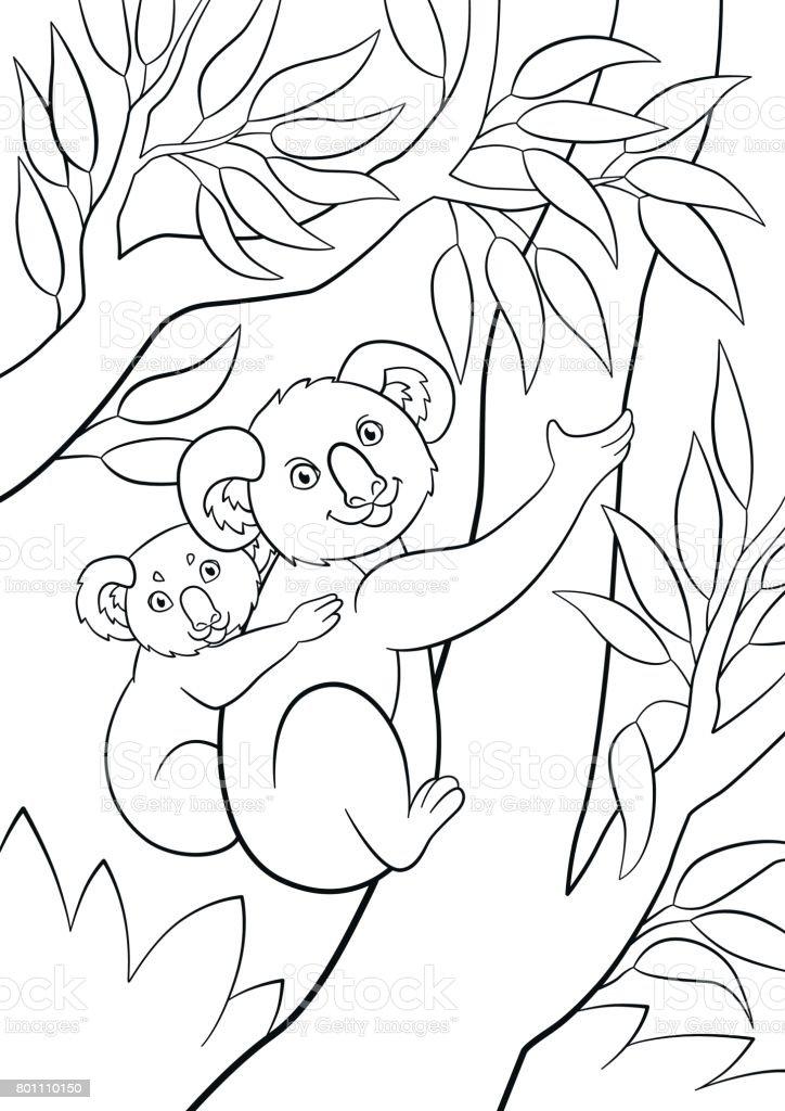 Kleurplaten Baby Beer.Kleurplaten Moeder Koala Met Haar Kleine Schattige Baby