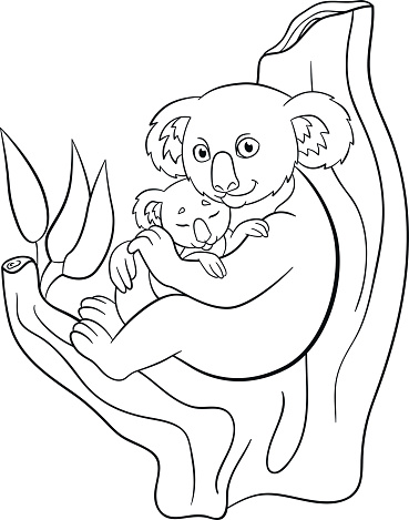 Coloring Pages Mother Koala With Her Little Cute Sleeping Baby Stock Illustration - Download Image Now