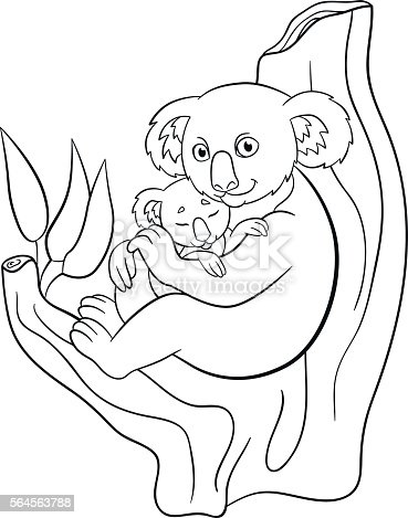 Coloring Pages Mother Koala With Her Little Cute Sleeping