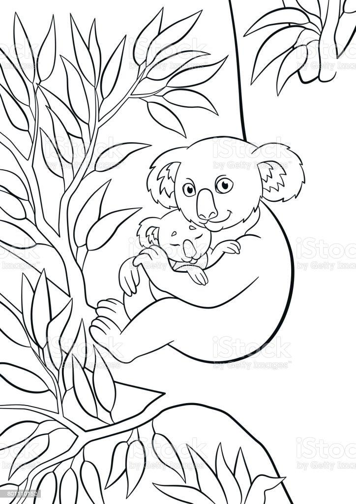 Boyama Sayfalari Onun Kucuk Sevimli Uyuyan Bebek Anne Koala Stok