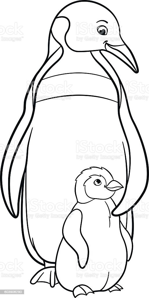 Coloring Pages Mother Penguin With Her Cute Baby Stock
