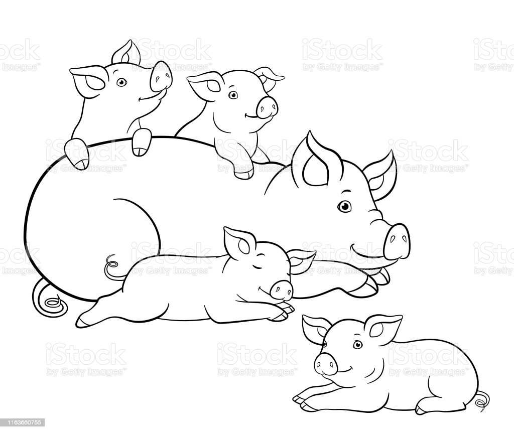 Coloring Pages Mother Pig Lays With Her Four Little Cute ...