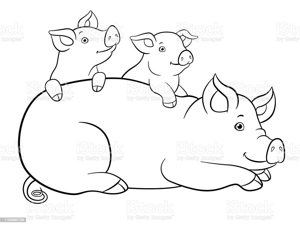 Coloring Pages Mother Pig With Her Two Little Cute Piglets Stock ...