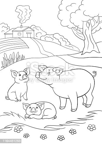 istock Coloring pages. Mother pig with her two little cute piglets. 1164451253