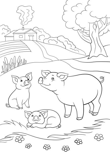 703 Cute Pig Coloring Pages Illustrations Clip Art Istock