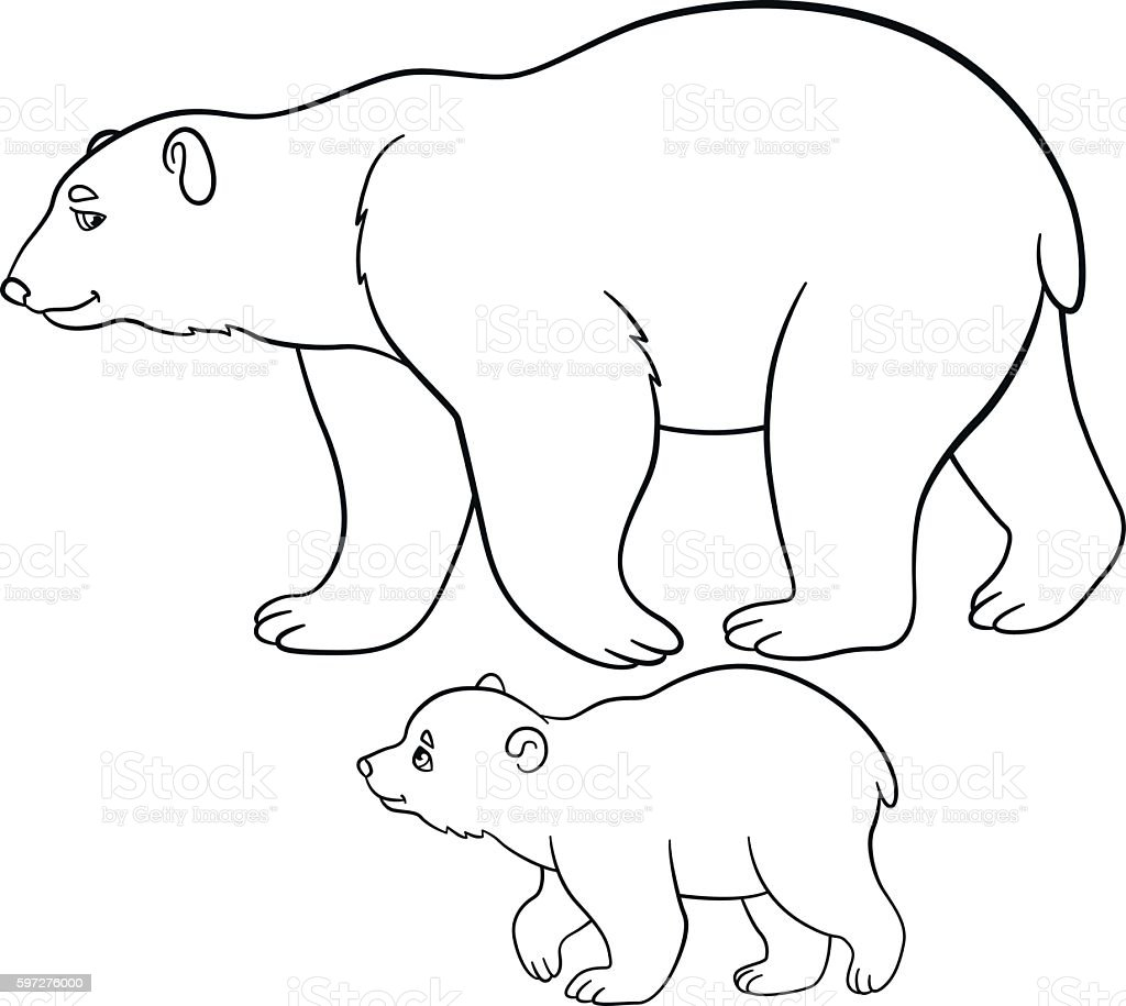 Coloring Pages Mother Polar Bear Walks With Her Baby Stock Vector ...
