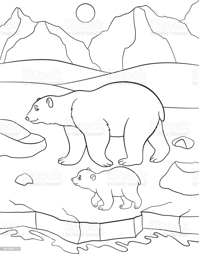 Boyama Sayfaları Anne Kutup Ayısı Bebeği Ile Yürür Stok Vektör