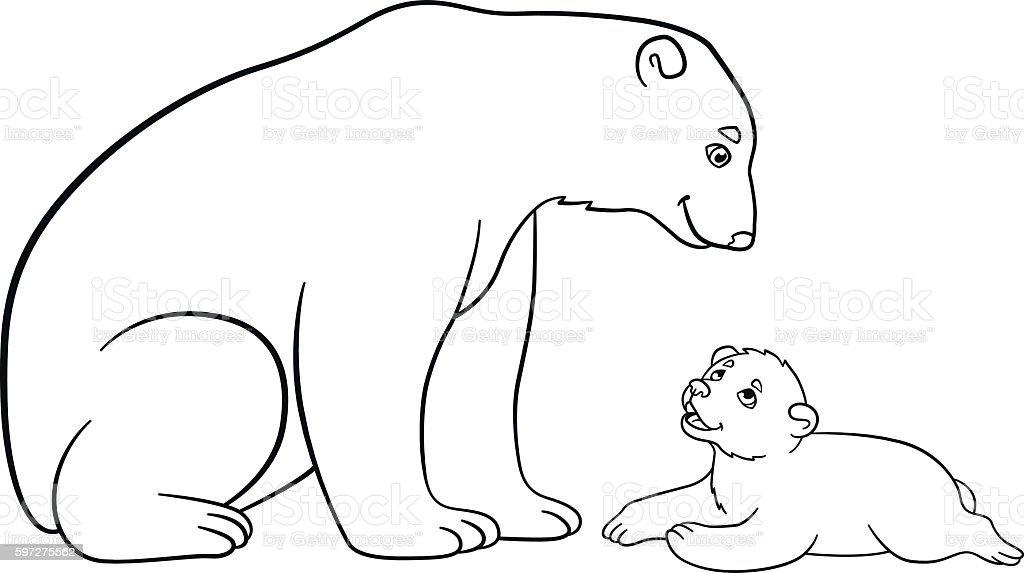Ilustración de Coloring Pages Mother Polar Bear With Her Baby y más ...
