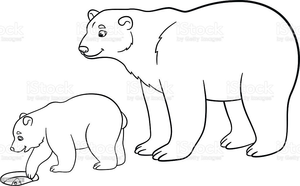 coloring pages mother polar bear with her baby vector id