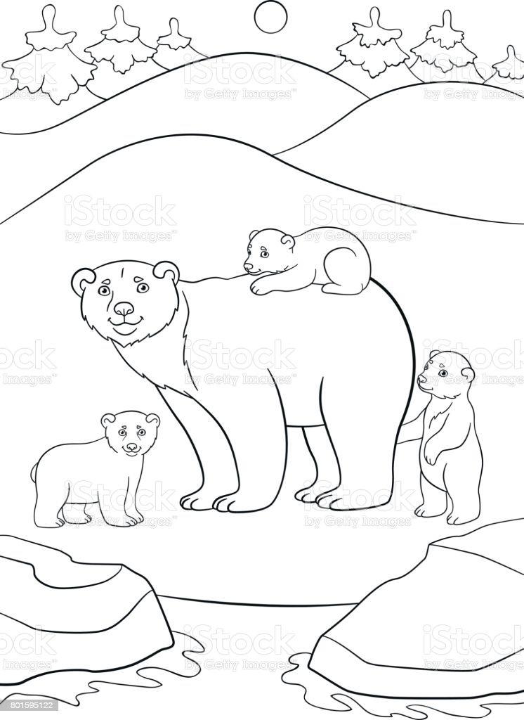 Ilustración de Dibujos Para Colorear Madre Oso Polar Con Sus Lindos ...