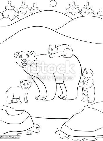 ᐈ Imagen De Dibujos Para Colorear Madre Oso Polar Con Sus Lindos