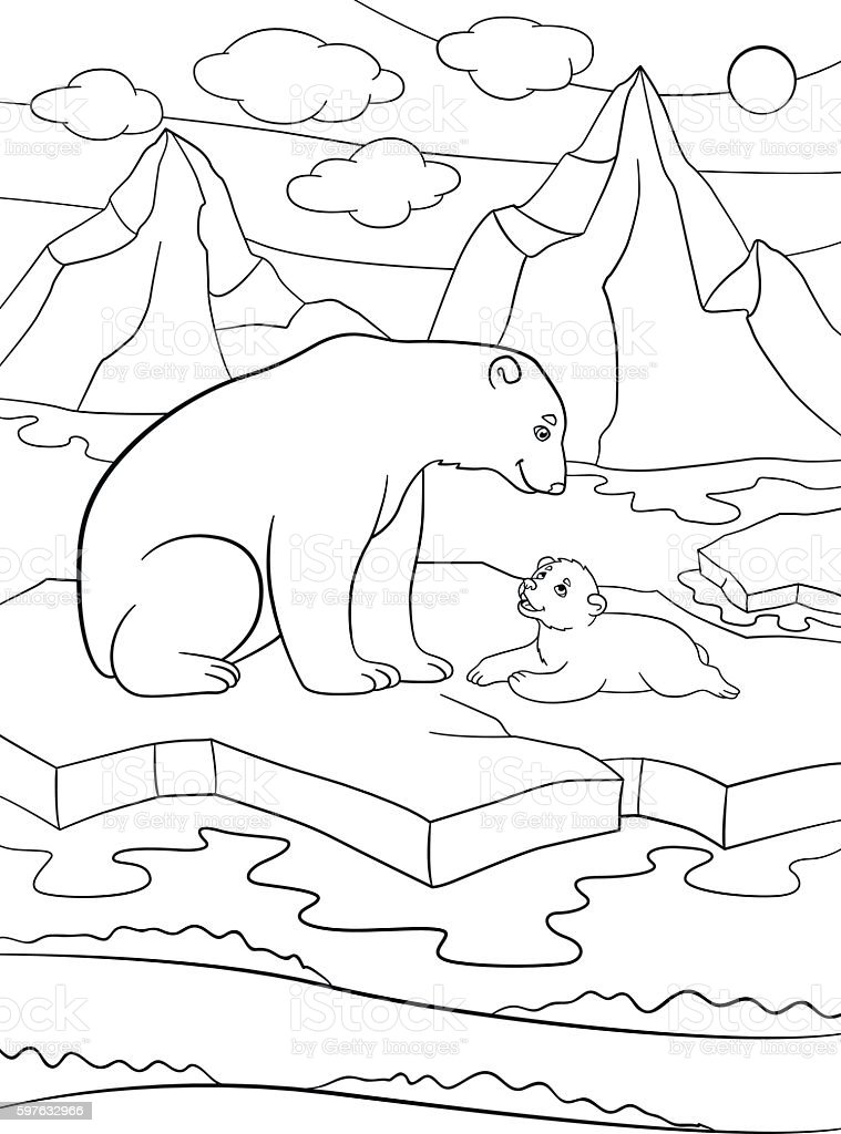 Coloring Pages Mother Polar Bear With Her Cute Baby Royalty Free Stock Vector