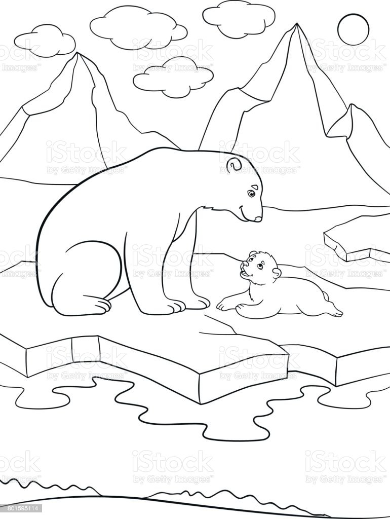 Boyama Sayfaları Onun şirin Bebek Ile Anne Kutup Ayısı Stok Vektör