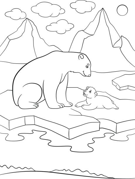 Ilustración de Dibujos Para Colorear Madre Oso Polar Con Su Lindo ...