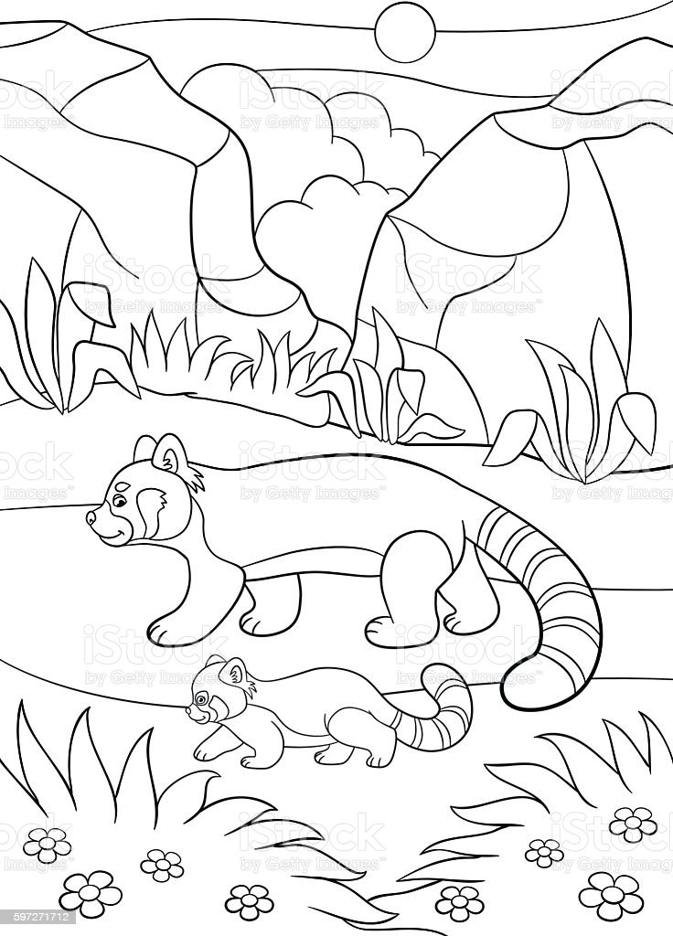 Coloring pages. Mother red panda walks with her baby. royalty-free coloring pages mother red panda walks with her baby stock vector art & more images of activity