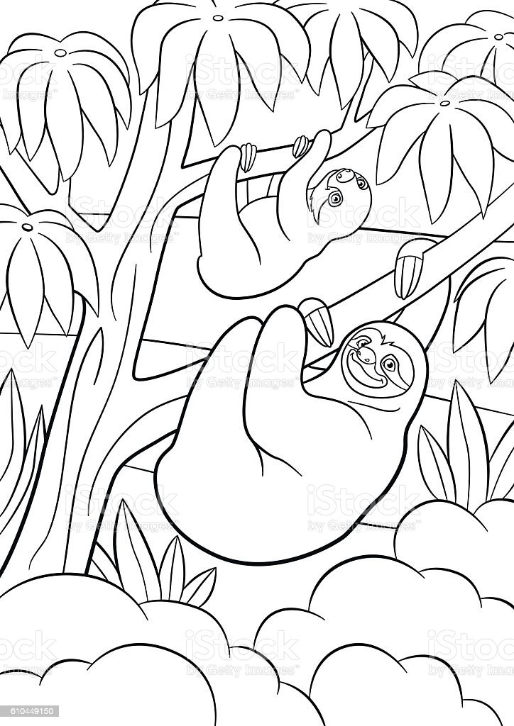 Coloring Pages Mother Sloth With Her Little Cute Baby Stock ...