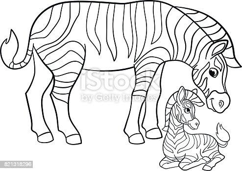 Ilustración de Dibujos Para Colorear Cebra Madre Con Su Pequeño Bebé ...