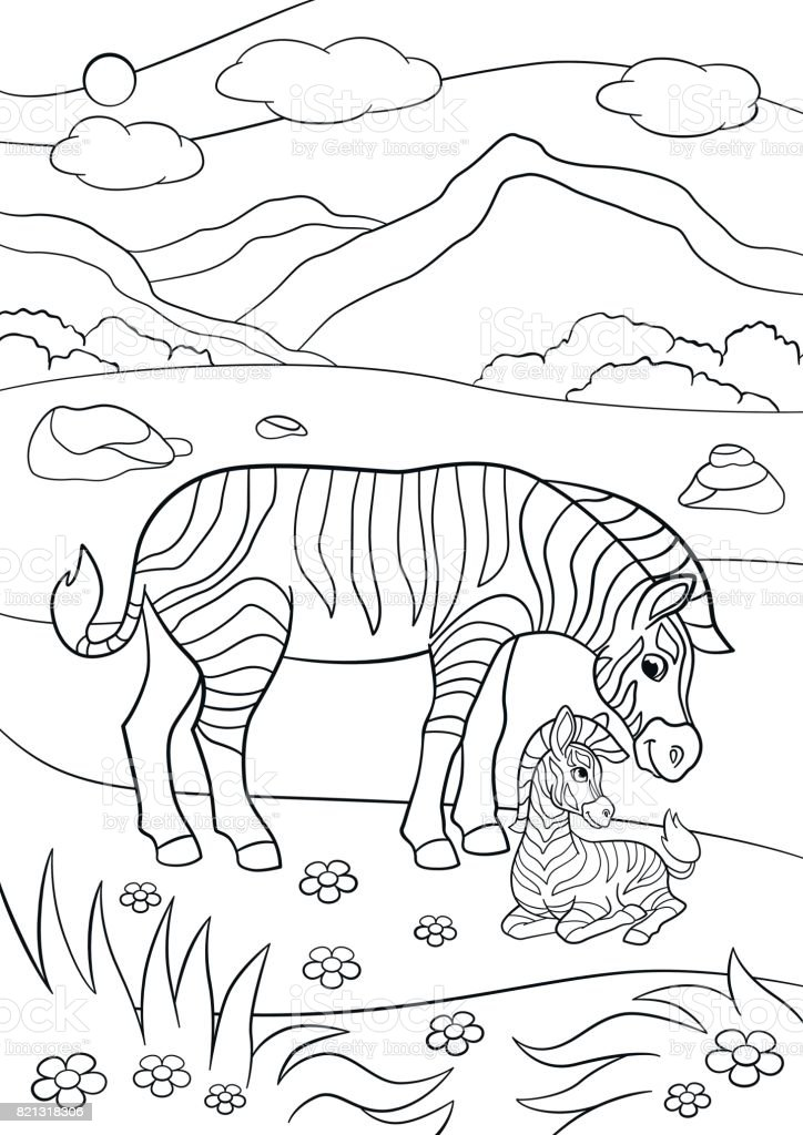 Coloring Pages Mother Zebra With Her Little Cute Baby Royalty Free Stock Vector