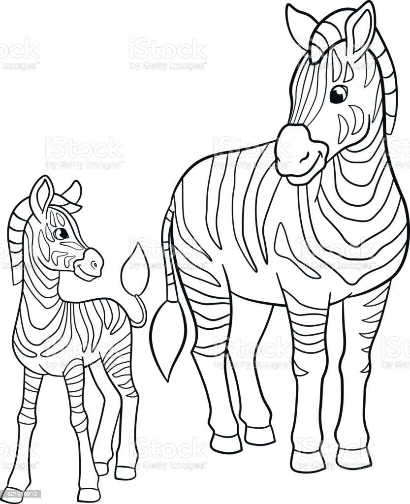 Coloriage Bebe Zebre.Pages A Colorier Zebre De Mere Avec Son Petit Bebe Mignon