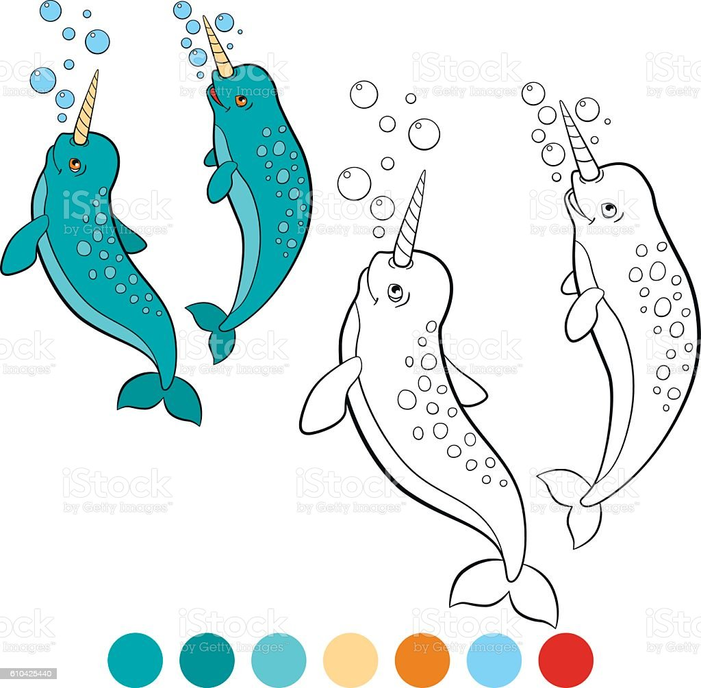 Ilustración de Coloring Pages Narwhal Two Little Cute Narwhals Smile ...