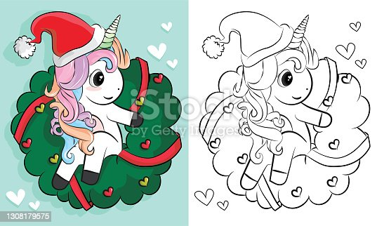 coloring pages of unicorns christmas. Cartoon hand drawn unicorn. Vector illustration. Design for coloring book, greeting cards, t-shirt and other