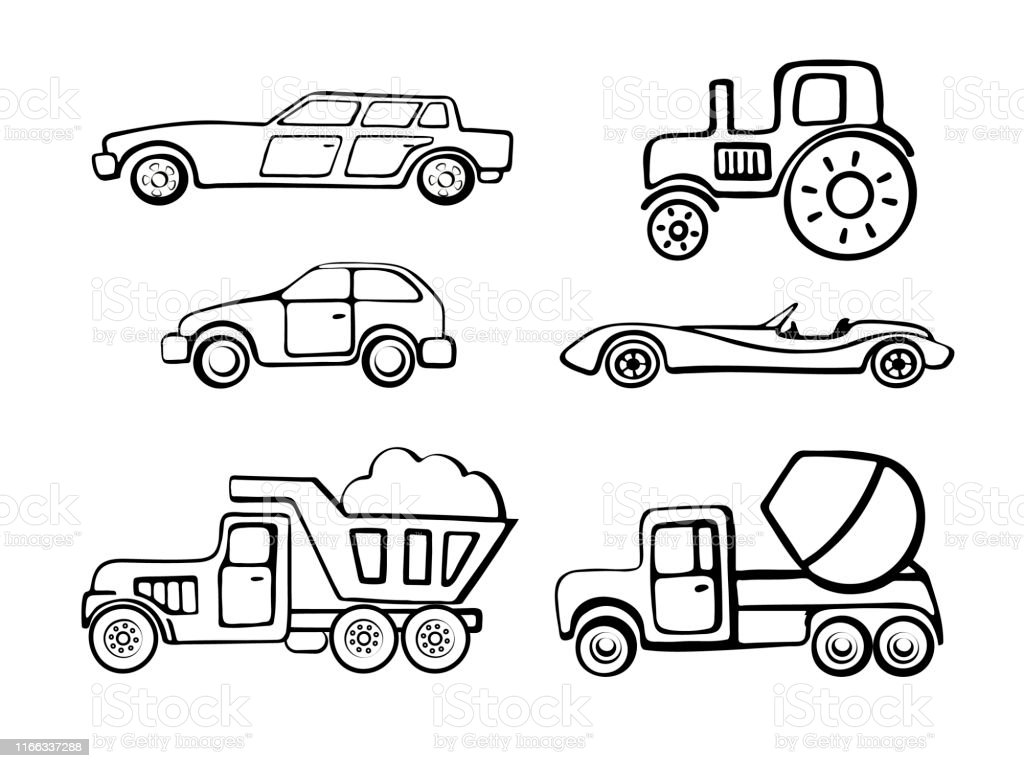 Coloring Pages Outline Of Cartoon Cars Coloring Book For Kids Isolated Truck Retro Car And Tractor On The White Background Vector Illustration Stock Illustration Download Image Now Istock