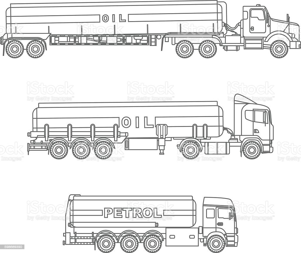 - Coloring Pages Set Of Different Gasoline Trucks Vector