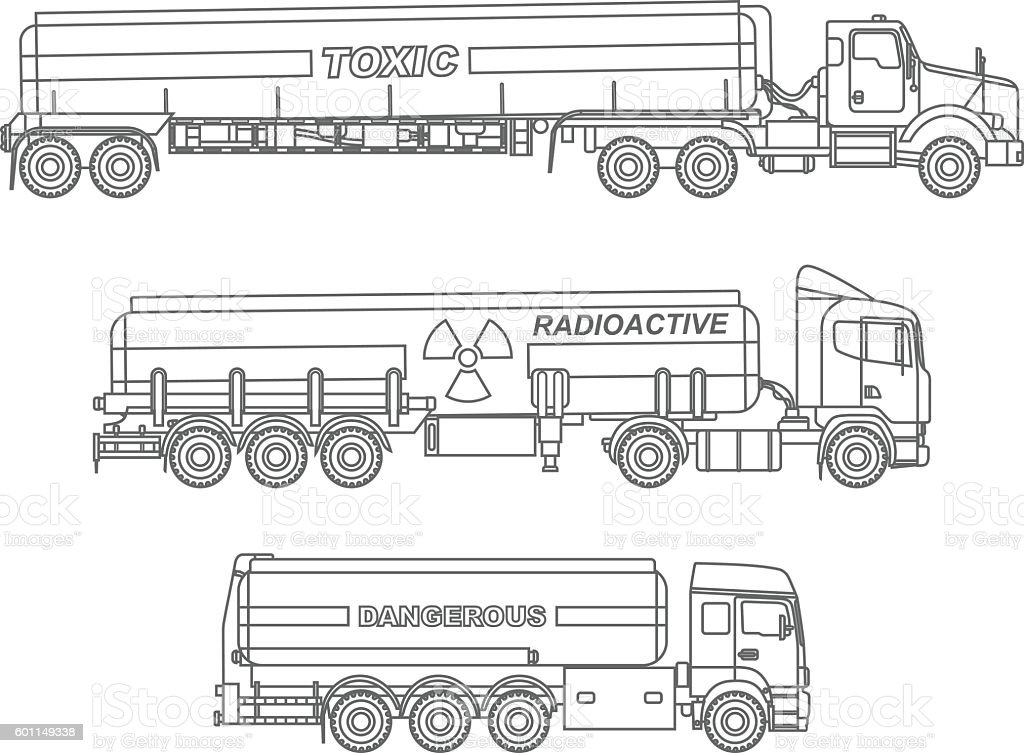 coloring pages set of different kind cistern trucks vector
