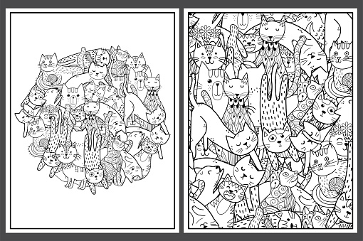 Coloring pages set with cute cats. Doodle feline animals for coloring book. Collection with funny black and white pages for adults and kids