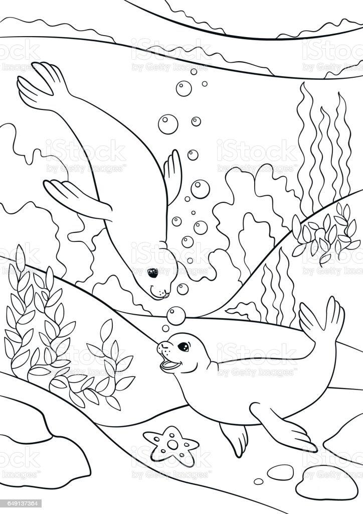 Vetores De Paginas De Colorir Dois Pequenos Bonito Focas Nadar E