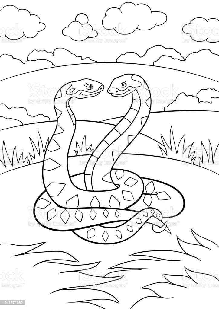 Dibujos Para Colorear Dos Víboras Pequeñas De Linda Sonrisa - Arte ...