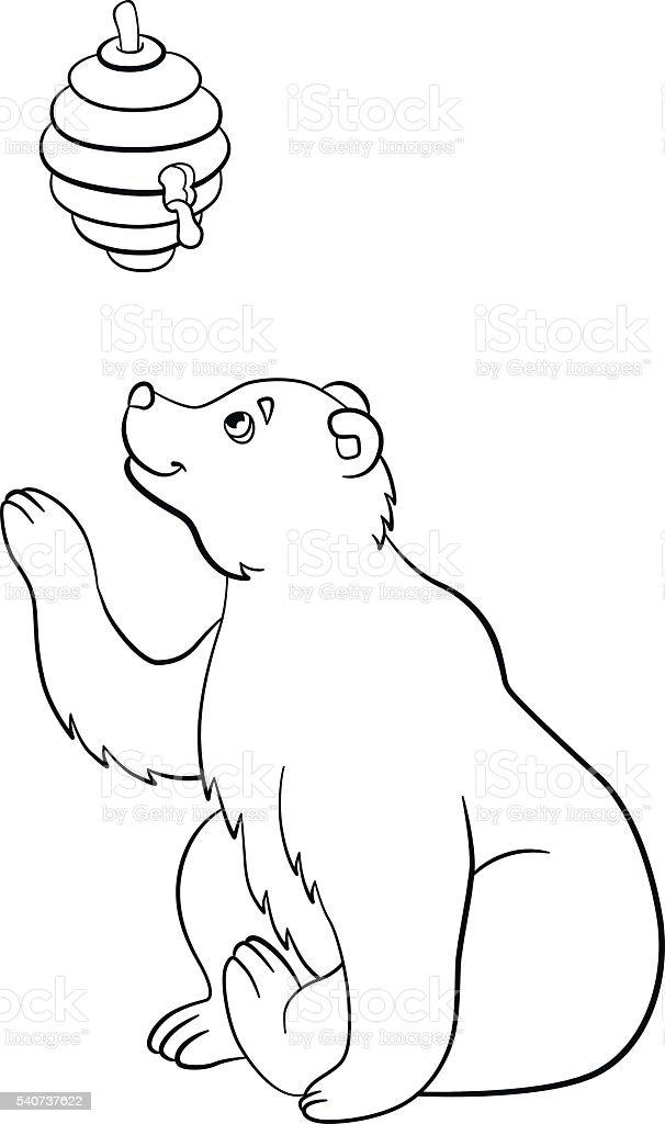 Vetores De Paginas De Colorir Animais Selvagens Fofo Urso Fica No