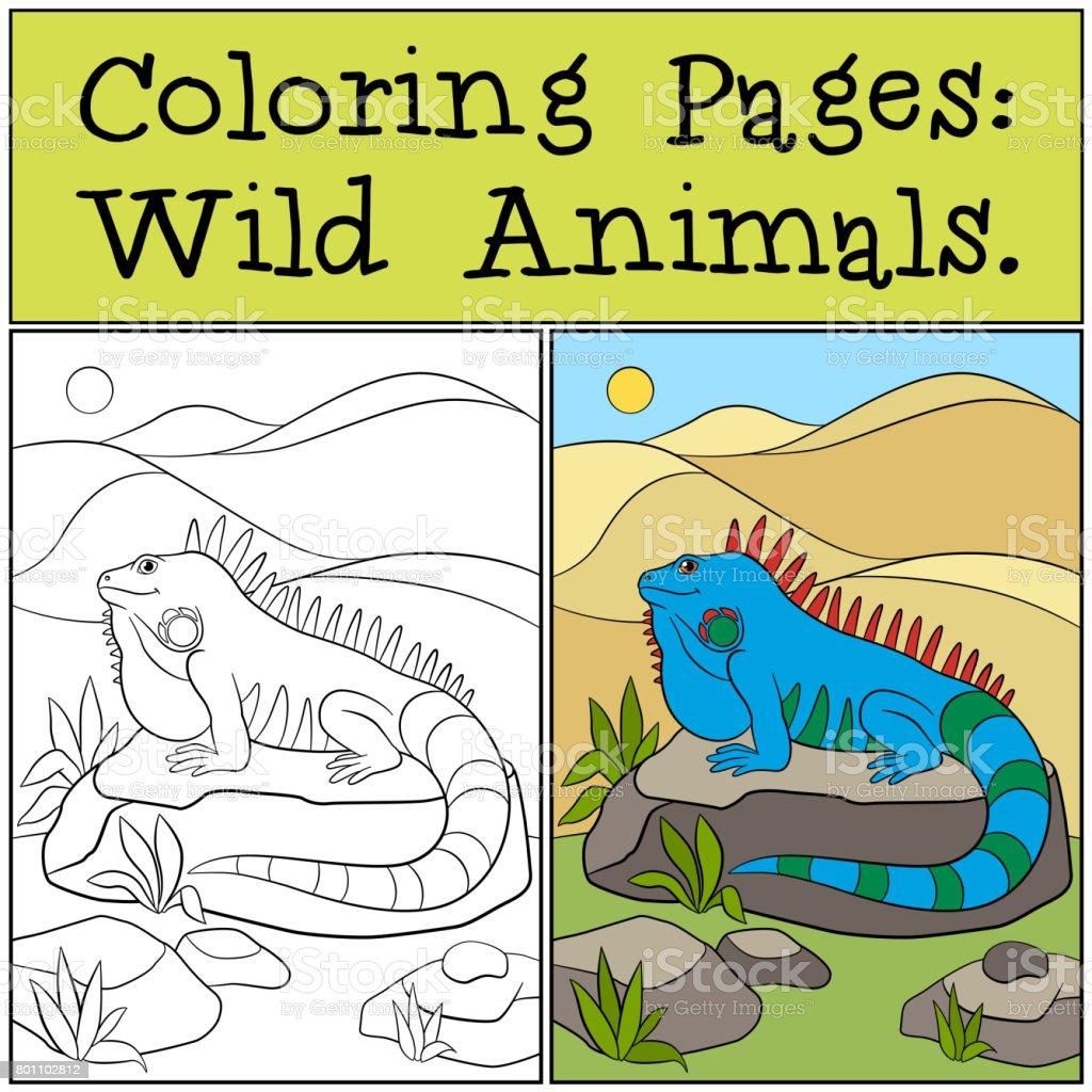 Dibujos Para Colorear Animales Salvajes Iguana Azul Lindo - Arte ...