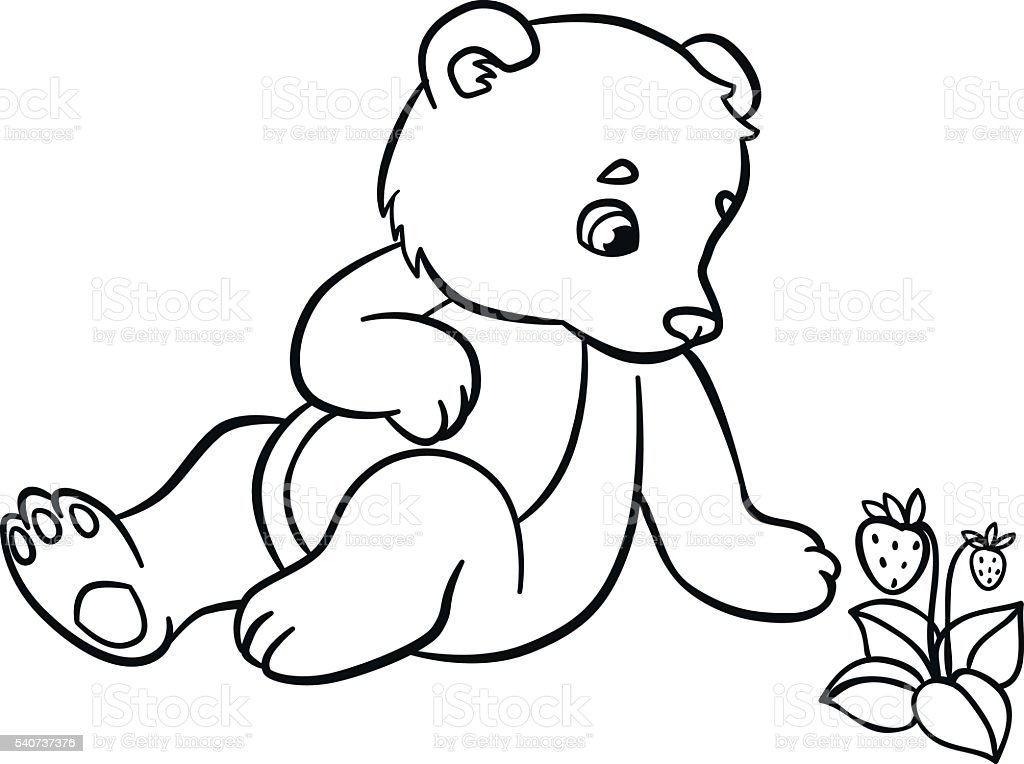 Coloring Pages Wild Animals Little Cute Baby Bear Royalty Free