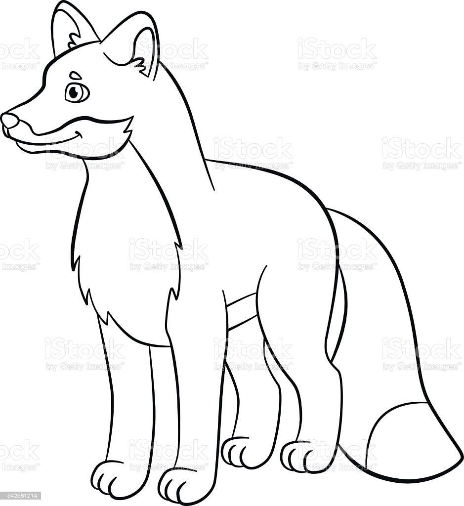 Vetores De Paginas De Colorir Animais Selvagens Pequeno Linda Fox