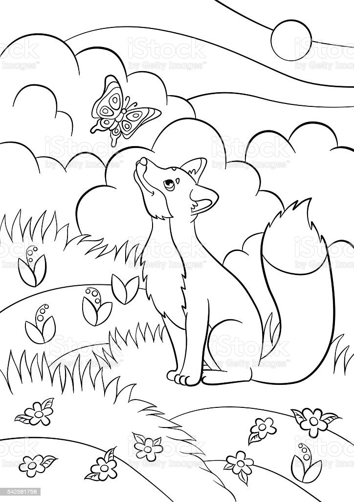 Coloring Pages Wild Animals Little Cute Fox Stock Illustration Download Image Now Istock