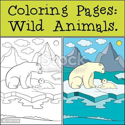 Ilustración de Dibujos Para Colorear Animales Salvajes Madre Oso ...