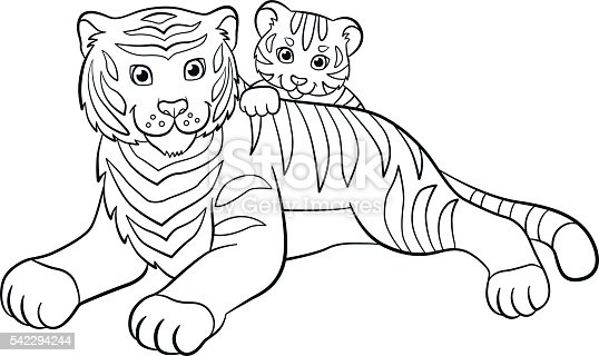 Coloring pages wild animals mother tiger with her cute Crazy animals coloring book