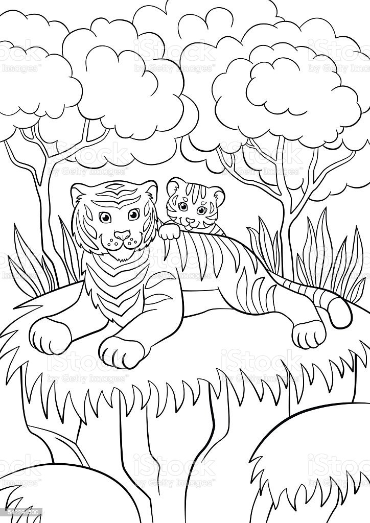 coloring pages wild animals smiling mother tiger with her baby stock vector art more images of. Black Bedroom Furniture Sets. Home Design Ideas