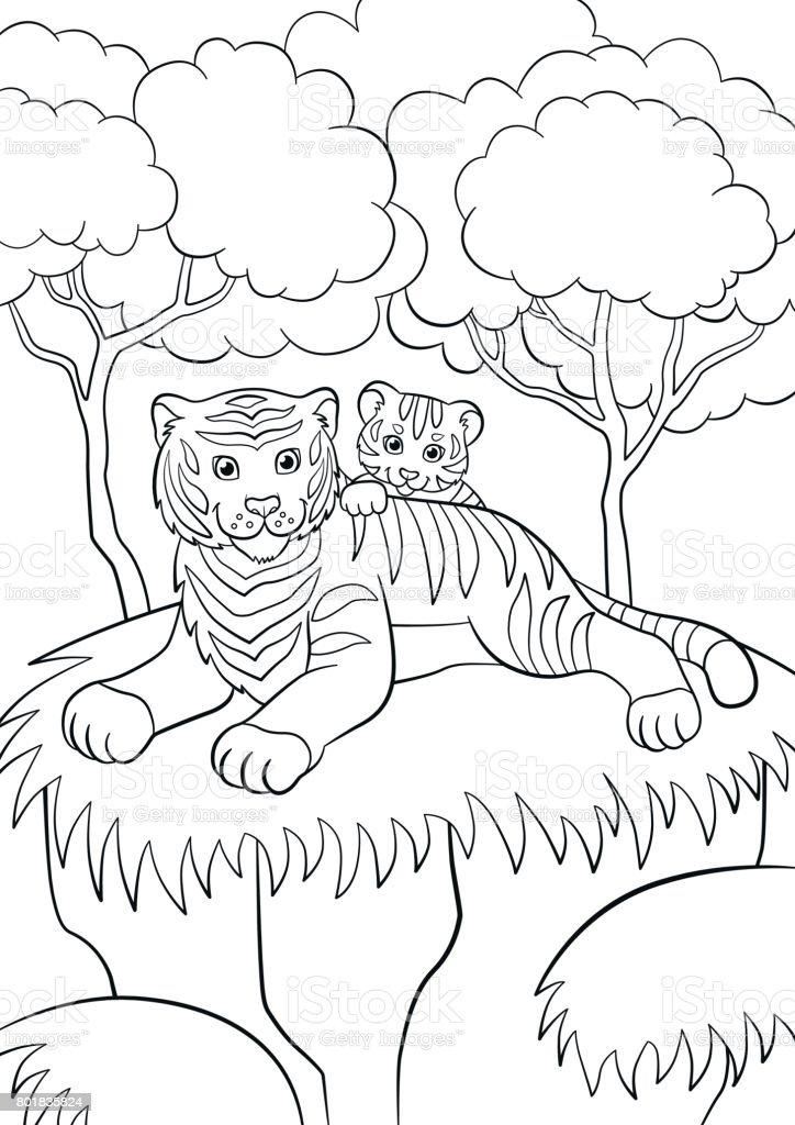 Boyama Sayfalari Vahsi Hayvanlar Anne Kaplan Onun Kucuk Sirin