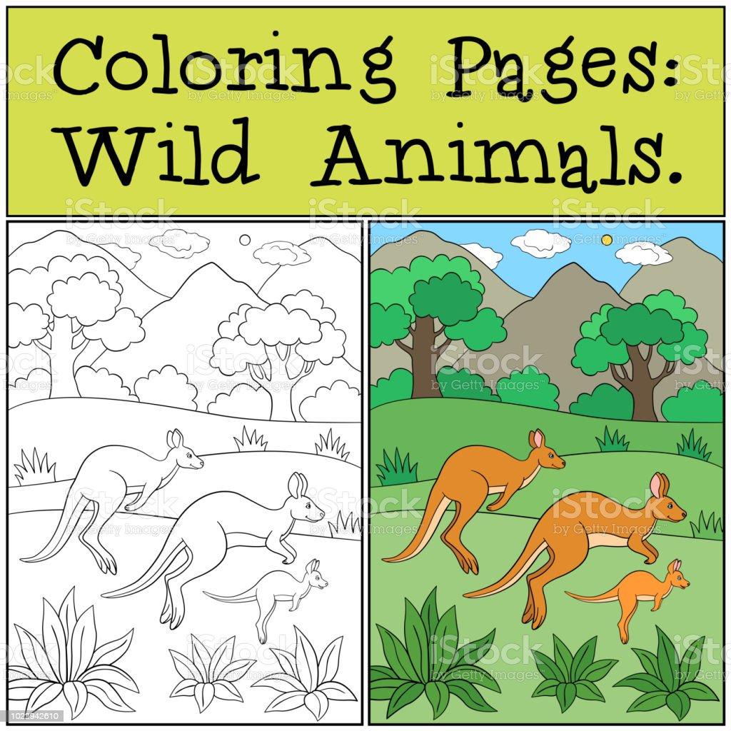Ilustración De Dibujos Para Colorear Animales Salvajes La Familia