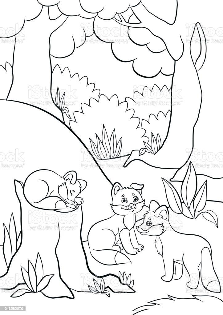 Kleine Kleurplaten Van Dieren.Kleurplaten Wilde Dieren Drie Kleine Schattige Baby Fox