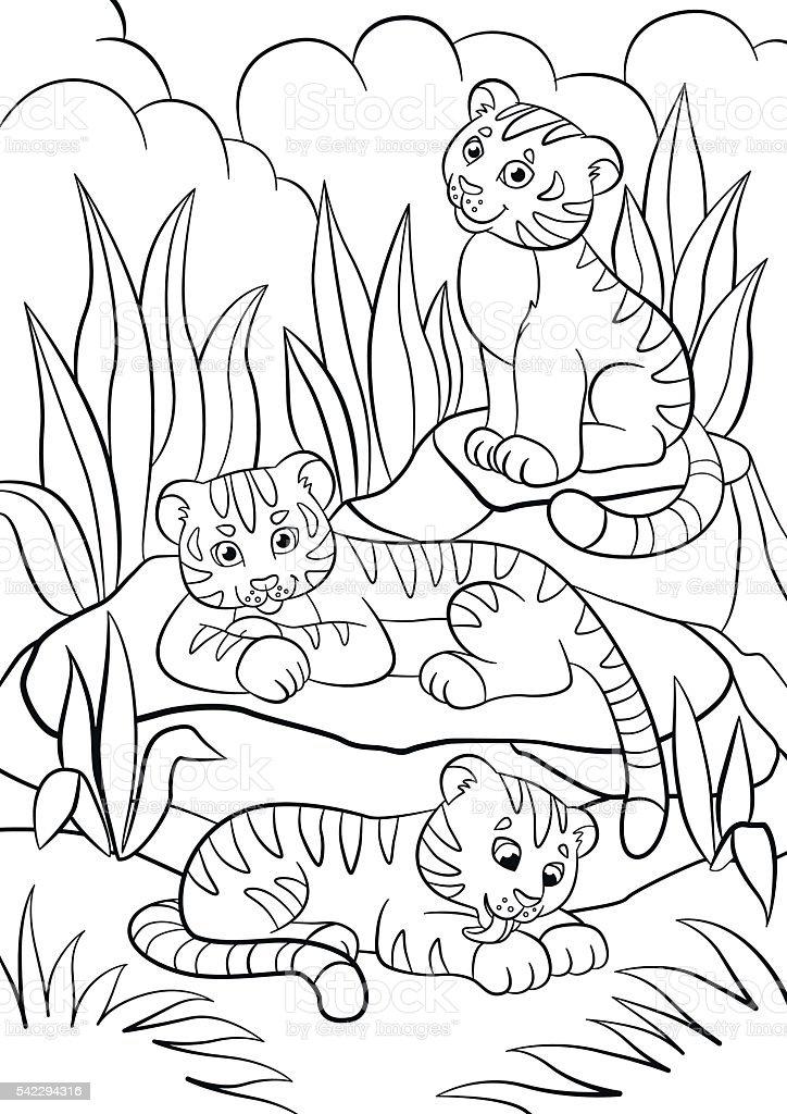 Ilustración de Colorear Páginas Los Animales Salvajes Tres Lindo ...
