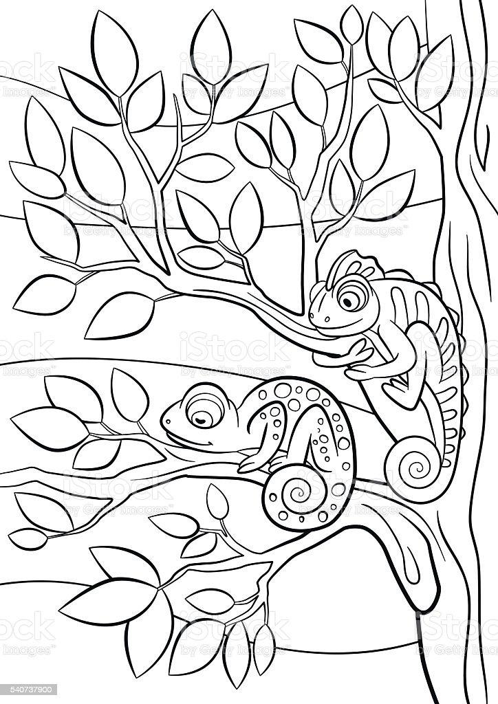 Ilustración de Colorear Páginas Los Animales Salvajes Dos Niños ...