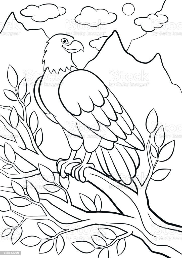Ilustración de Dibujos Para Colorear Aves Silvestres Linda águila Se ...