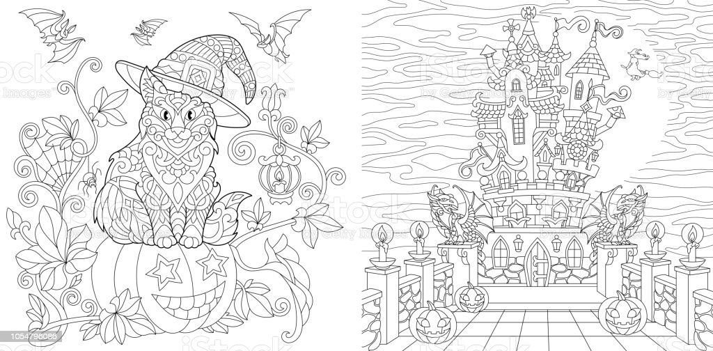 Coloring Pages With Halloween Cat On Pumpkin And Horror Castle Stock