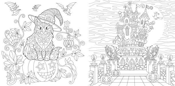 Vetores De Paginas Para Colorir Com Gato Halloween No Castelo De
