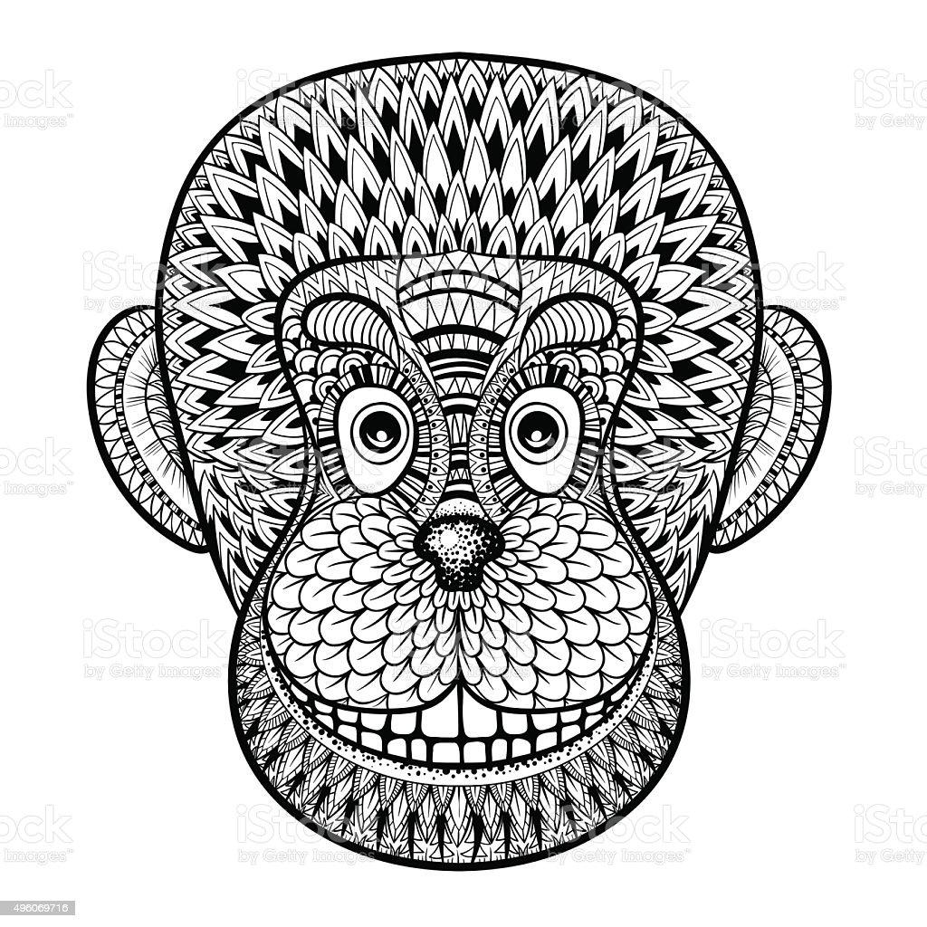 Página Para Colorear Con Cabeza De Mono Zentangle Illustrat Gorilla ...