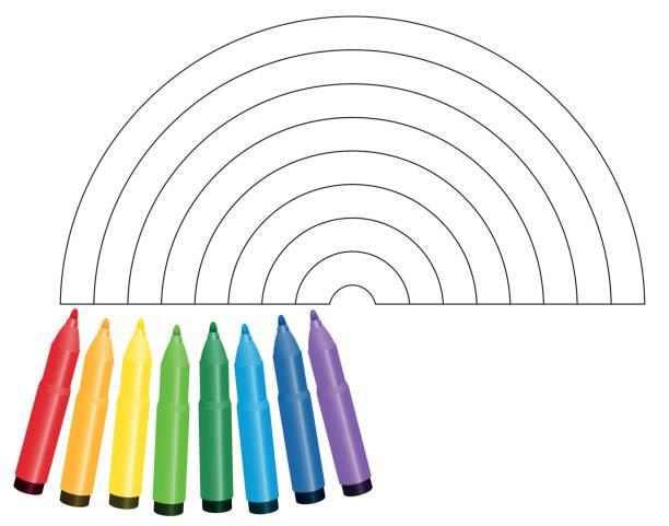 färbung bild regenbogen - isoliert mit acht farbigen markierungen, die zeigen, welche farbe verwendet werden - vektor-illustration auf weißem hintergrund. - filzarbeiten stock-grafiken, -clipart, -cartoons und -symbole