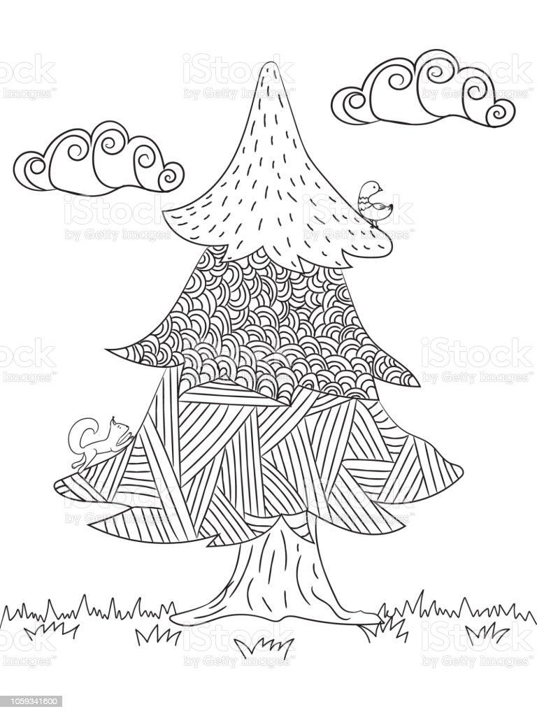 Boyama Resimleri Ladin Orman Hayvanları Ve Bulutlar Stok Vektör